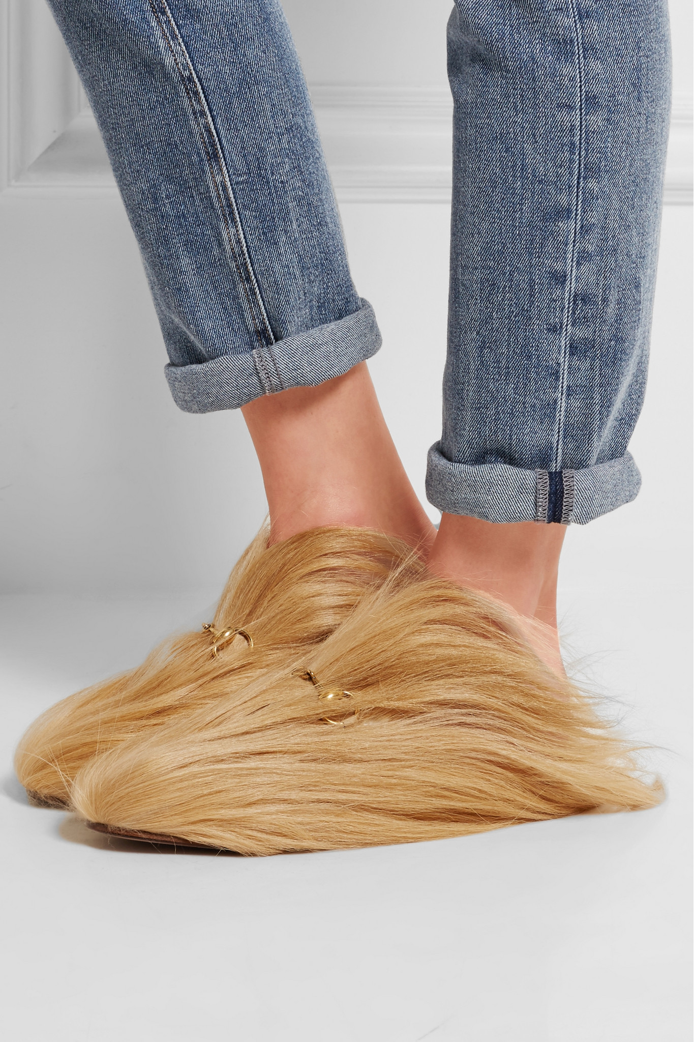Gucci Horsebit Detailed Goat Hair Slippers In Natural Lyst