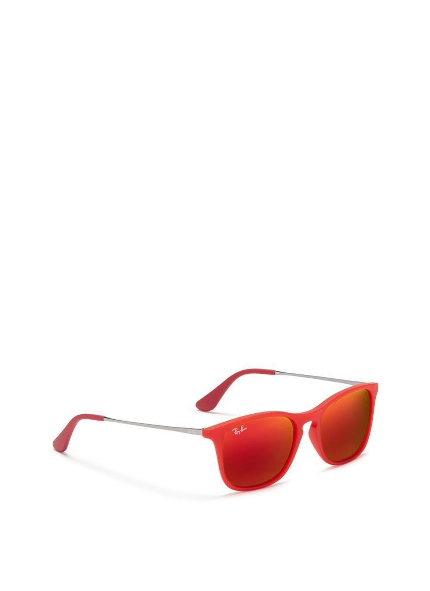 Ray-Ban 'Chris Junior' Rubberised Acetate Mirror Sunglasses in Red,Metallic (Red)