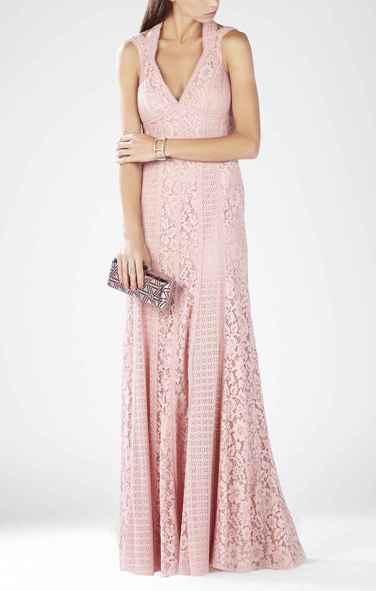 Bcbgmaxazria Sonya Sleeveless Lace-blocked Gown in Pink   Lyst