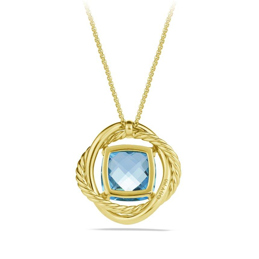 David Yurman Infinity Small Pendant With Blue Topaz In