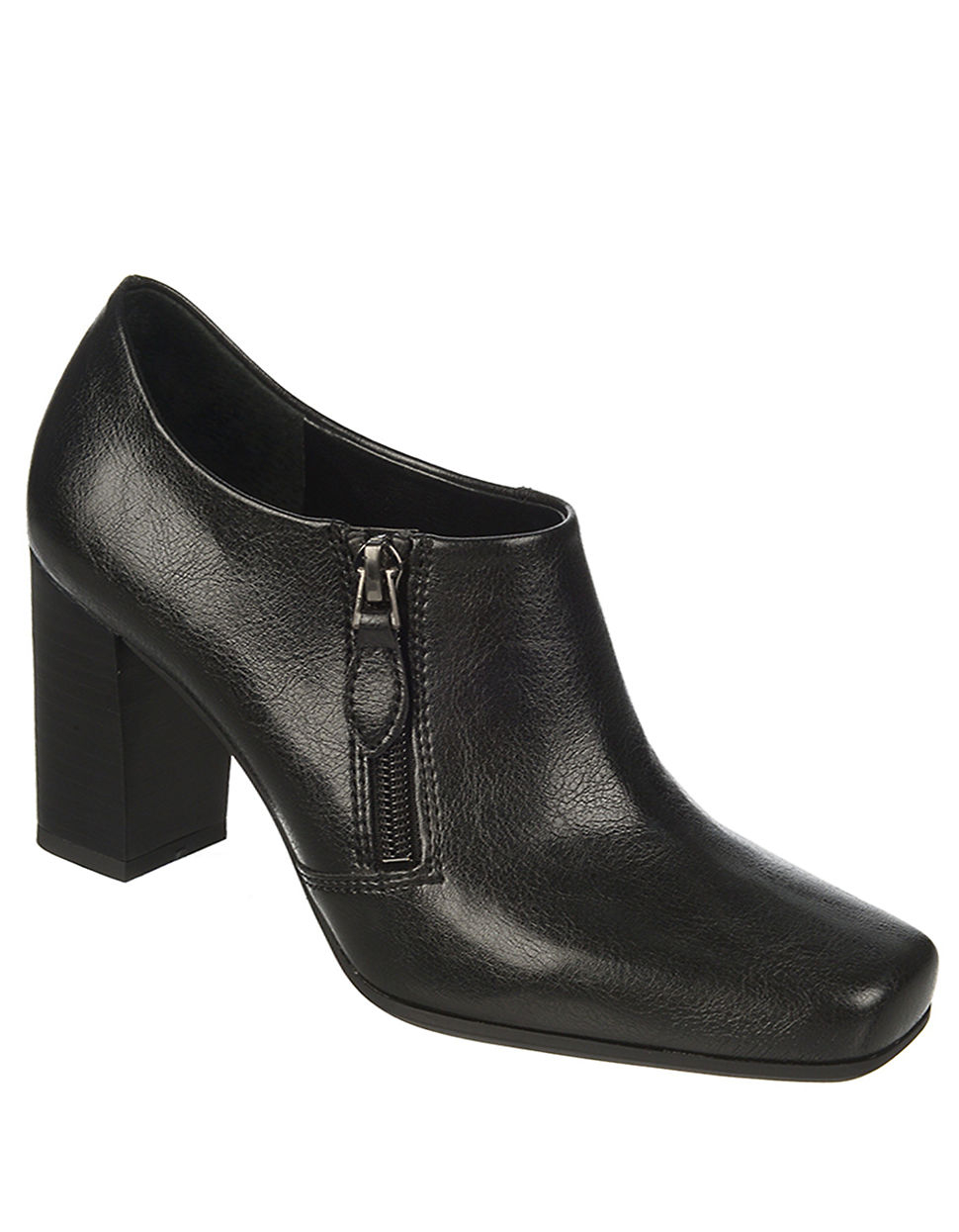 franco sarto zodiac faux leather ankle boots in black