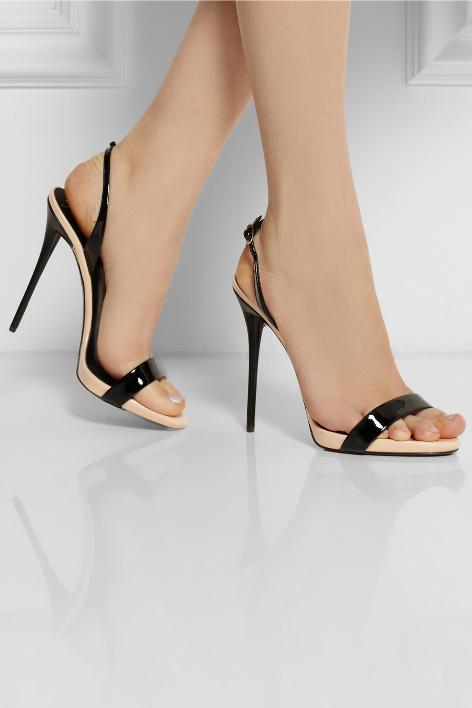 52427ac0fe90 ... buy lyst giuseppe zanotti coline twotone patentleather sandals in black  94614 0d016