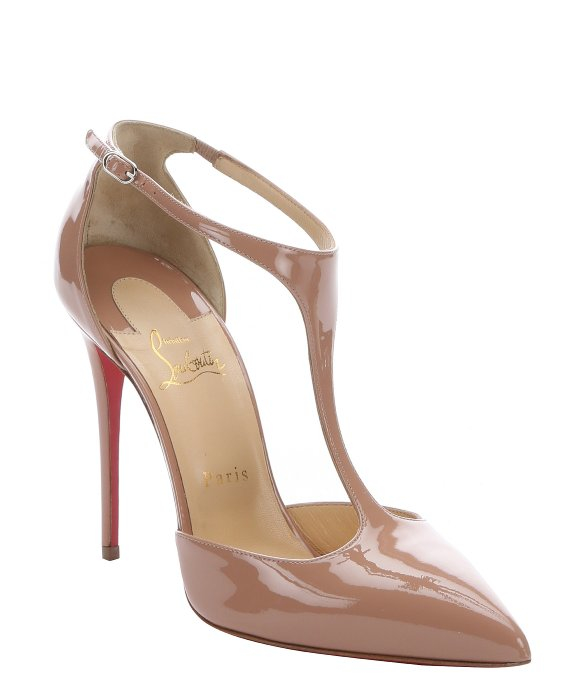 Christian louboutin Nude Patent Leather 'j String 100' T-strap ...