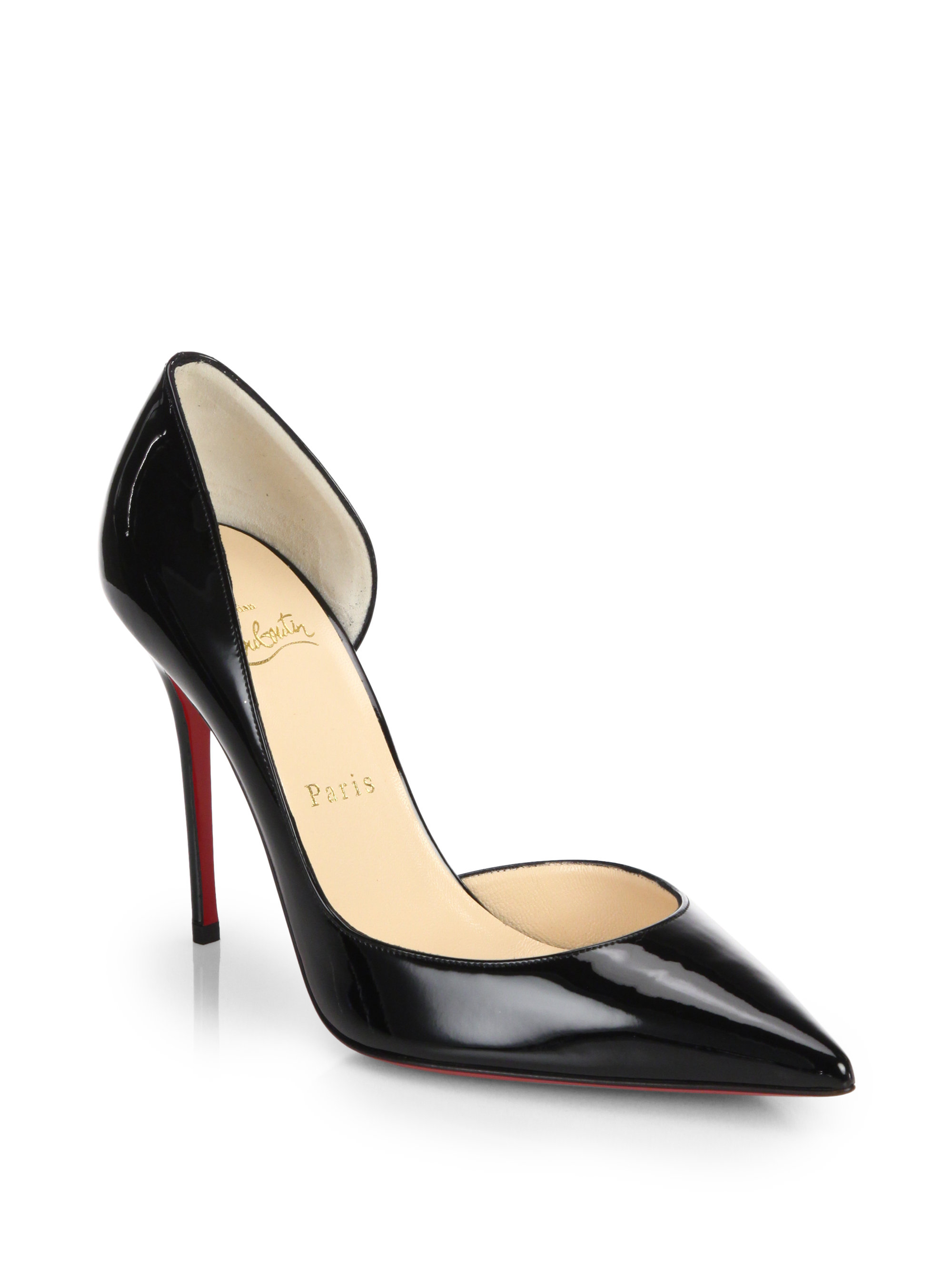 Christian louboutin Iriza Patent Leather Half D\u0026#39;orsay Pumps in Red ...