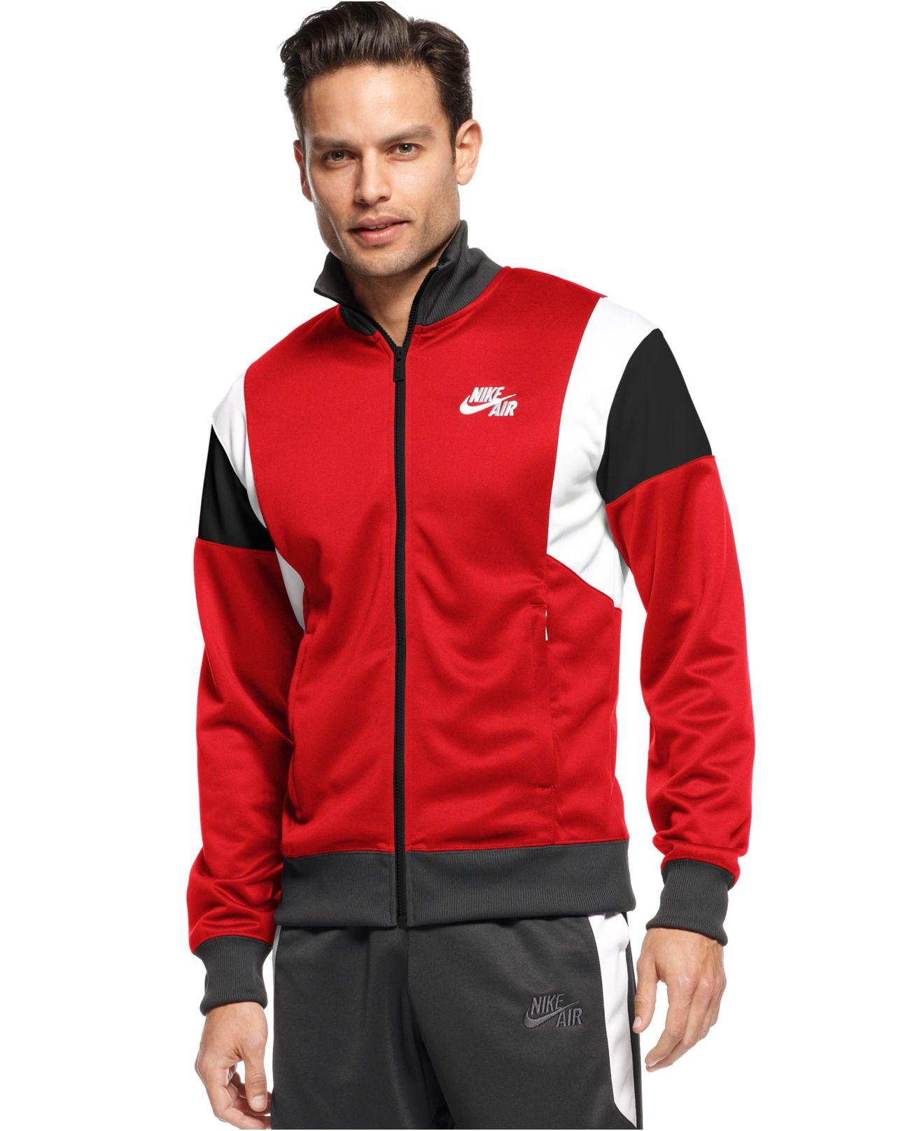 Nike Mens Basketball Air Time 2.0 Red//Black Warm-Up Zipper Jacket