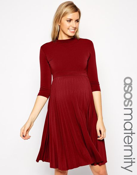 Asos Maternity Skater Dress With Pleated Skirt And 3/4 ...