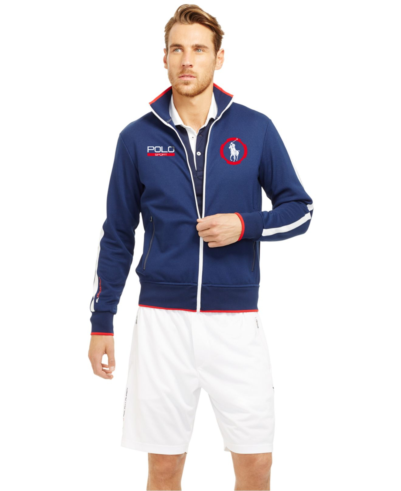 polo ralph lauren polo sport pique track jacket in blue. Black Bedroom Furniture Sets. Home Design Ideas