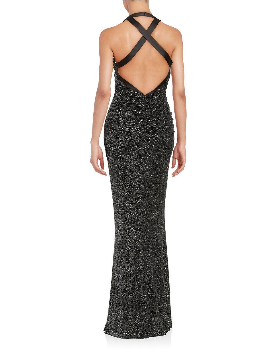 Lyst - Calvin Klein Ruched Shimmer Gown in Black
