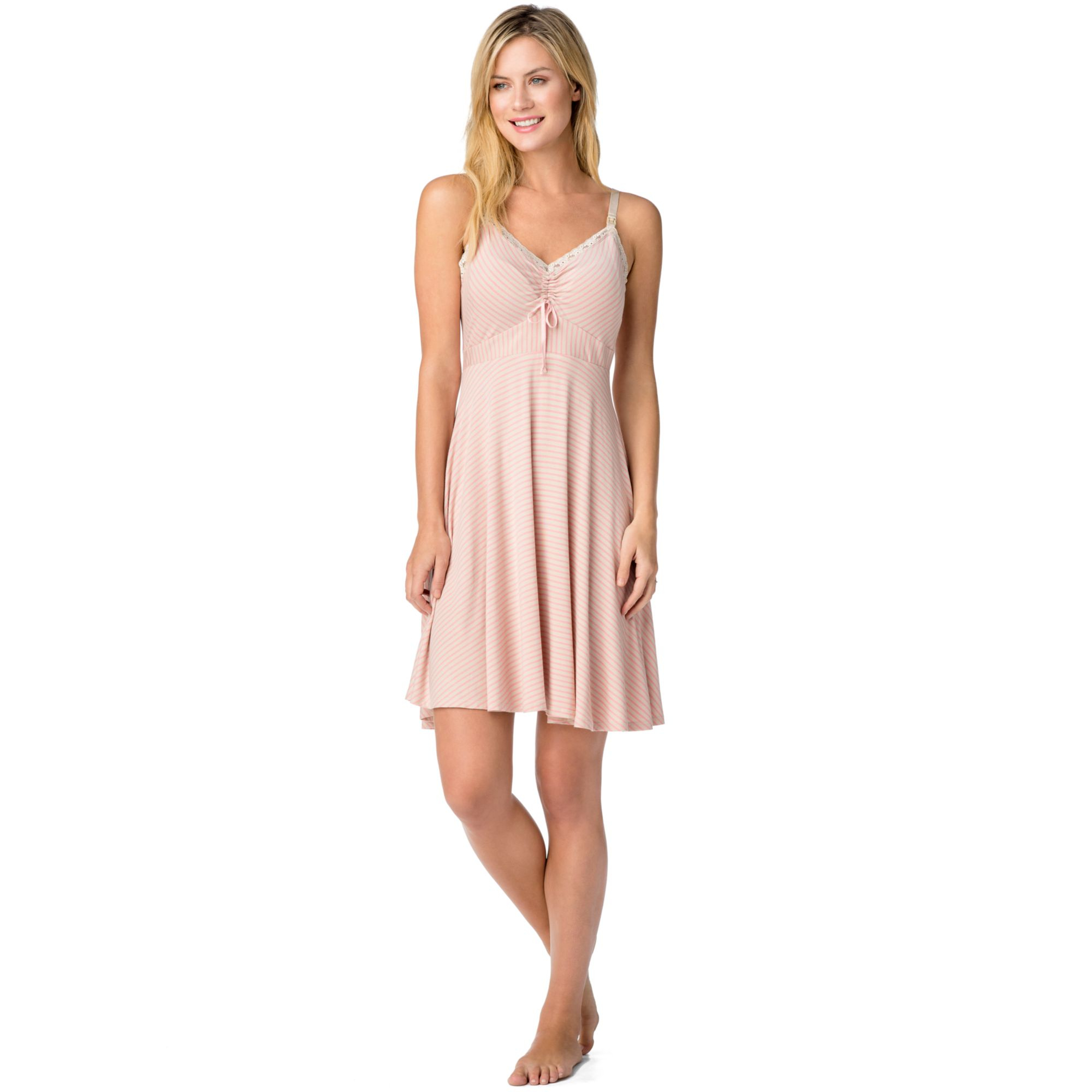 Lyst - Jessica Simpson Maternity Striped Nursing Nightgown in Pink