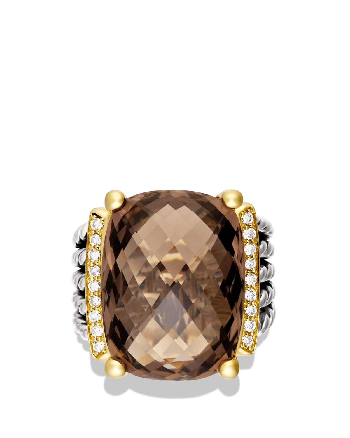 Lyst - David yurman Wheaton Ring With Smoky Quartz And ... Gold And Diamonds
