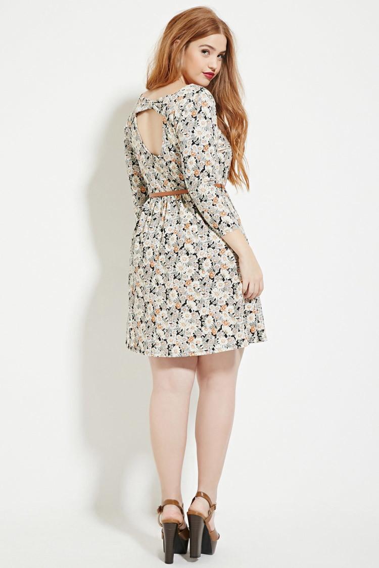 64893726e34 Forever 21 Black Plus Size Floral Skater Dress