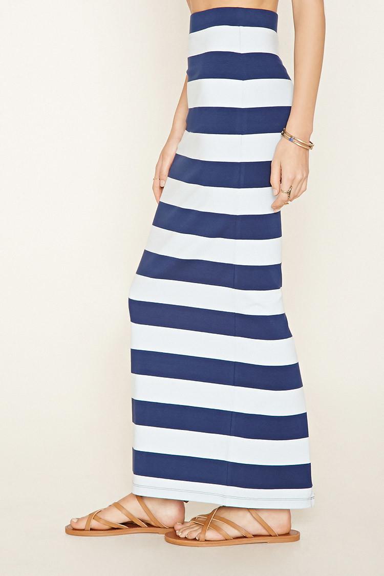 forever 21 stripe maxi skirt in blue lyst