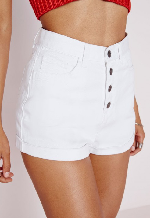 high waisted shorts button up