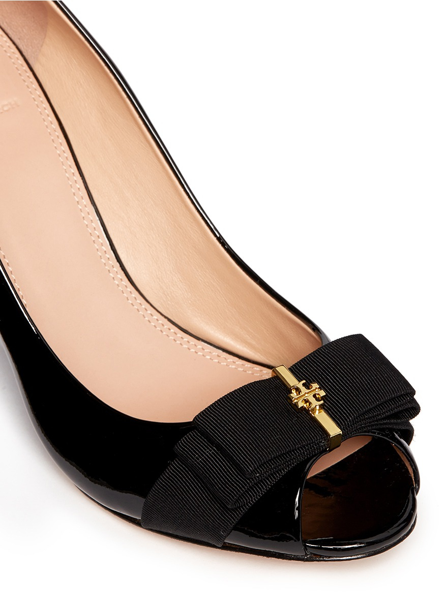 ef3742d8f595 Lyst - Tory Burch  trudy  Patent Leather Open Toe Wedges in Black