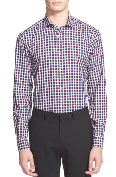 Lyst z zegna extra trim fit herringbone check shirt in for Extra trim fit dress shirt