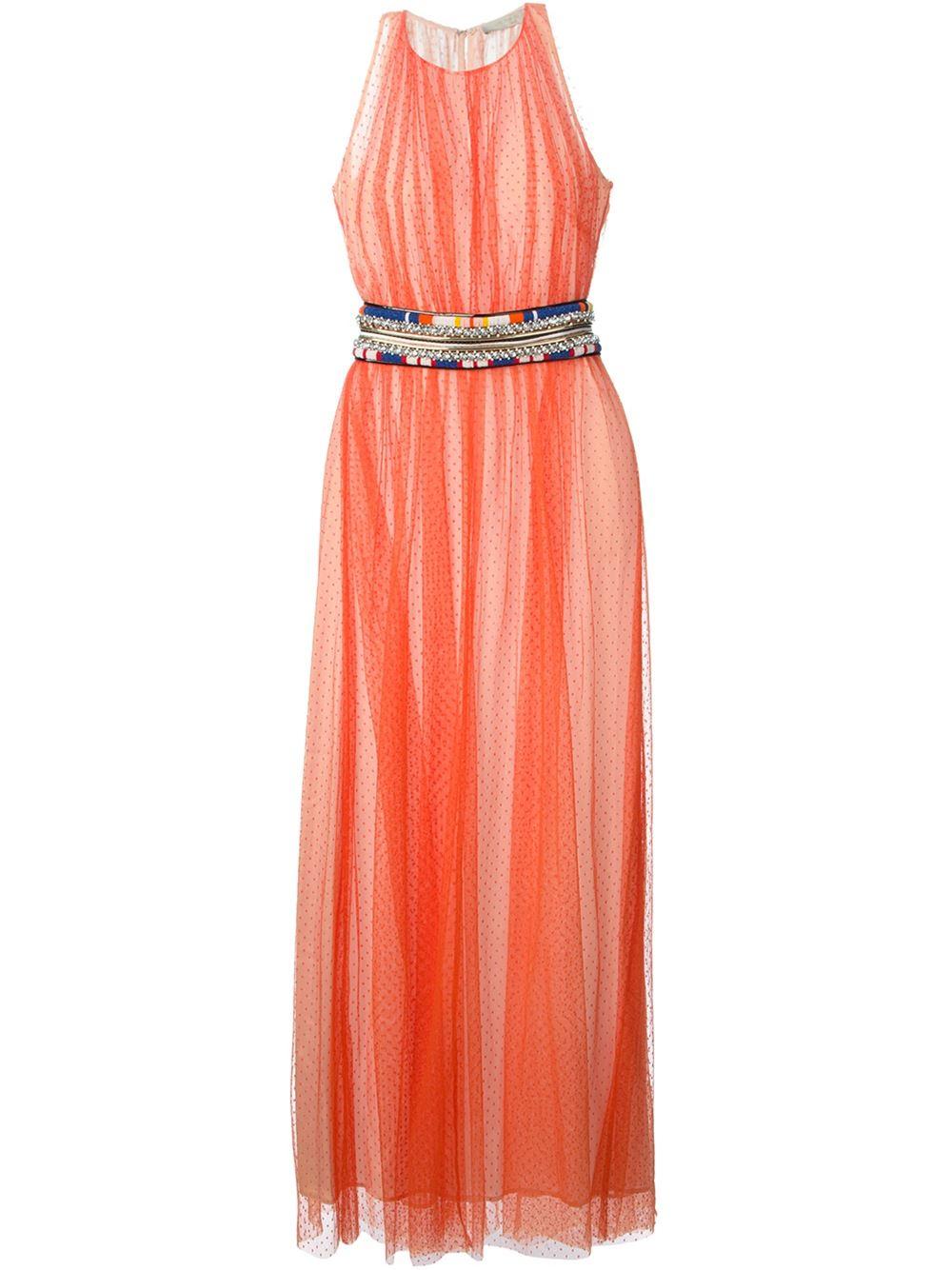 amen beaded belt tule dress in orange yellow orange lyst