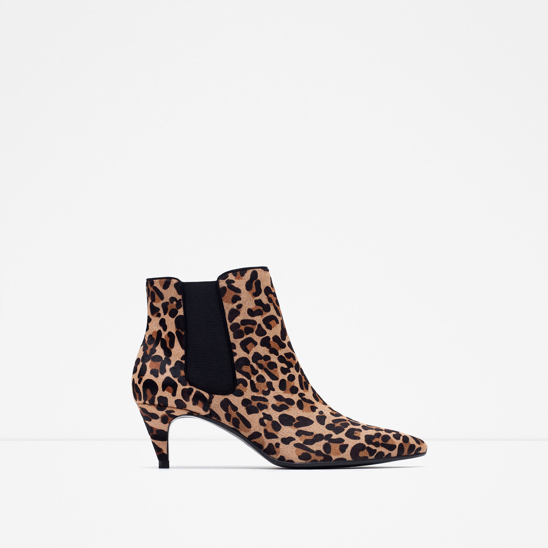 zara high heel printed leather ankle boots lyst