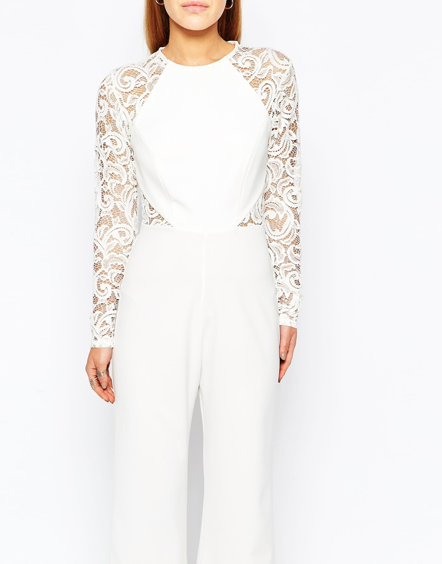 04f5aba526f Lyst - John Zack Lace Sleeve And Back Detail Jumpsuit in White