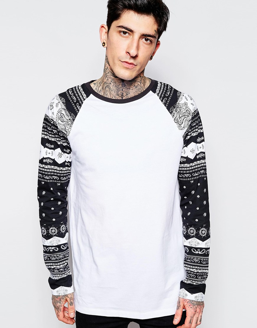 Asos longline long sleeve t shirt with bandana print for Long sleeve printed t shirts