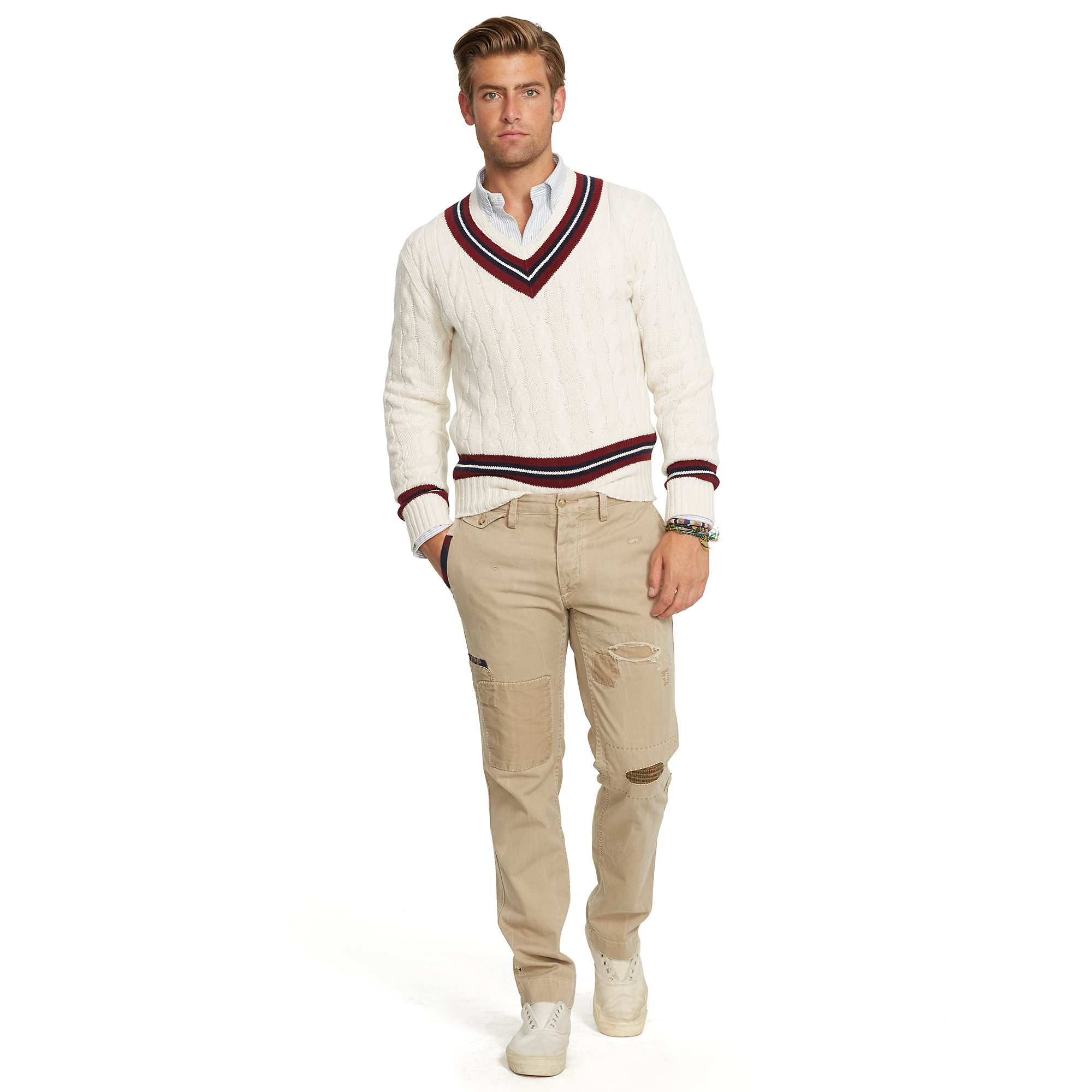 e266010650f ... discount code for lyst polo ralph lauren cotton blend cricket sweater  in white for men 60321