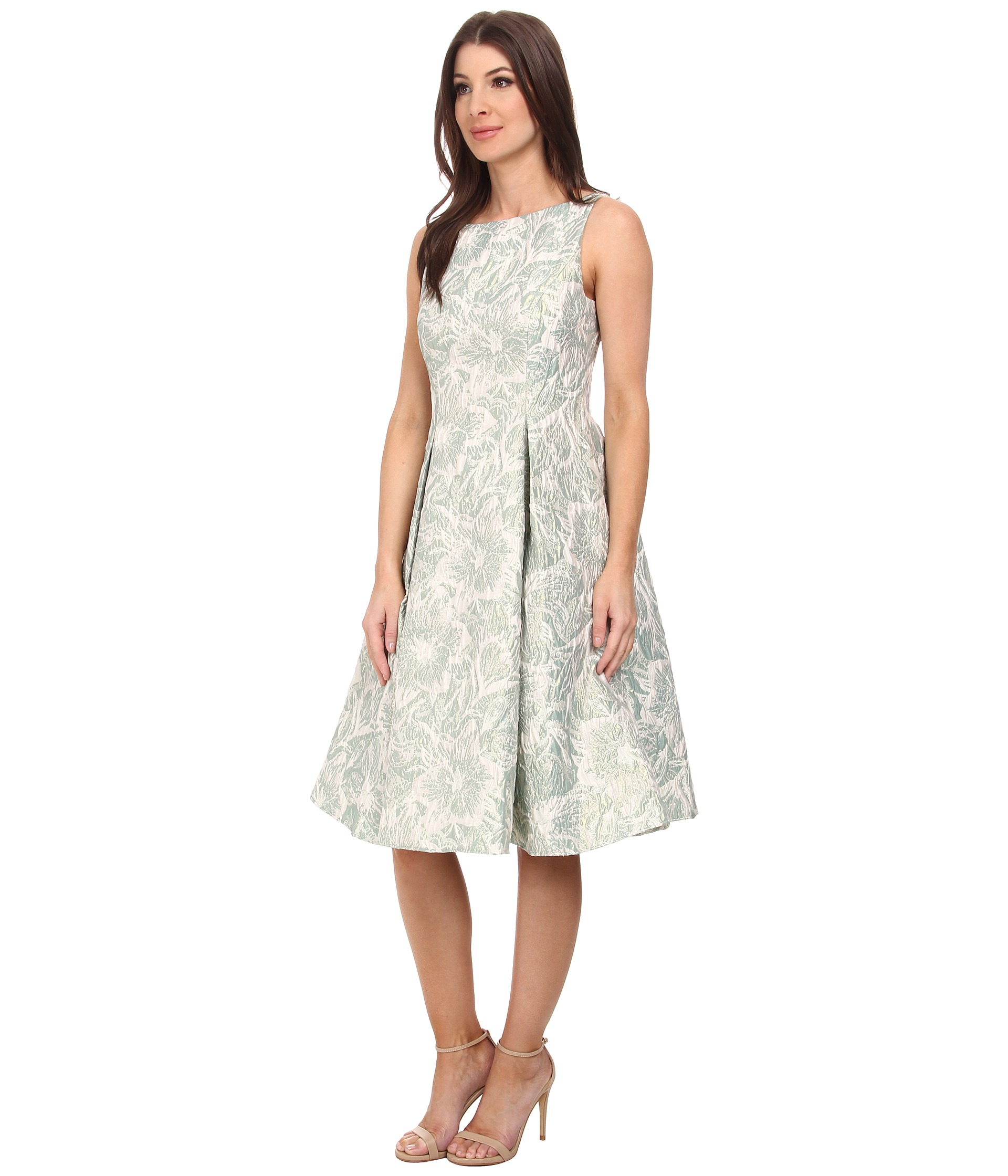 Adrianna Papell Sleeveless Floral Metallic Jacquard Party