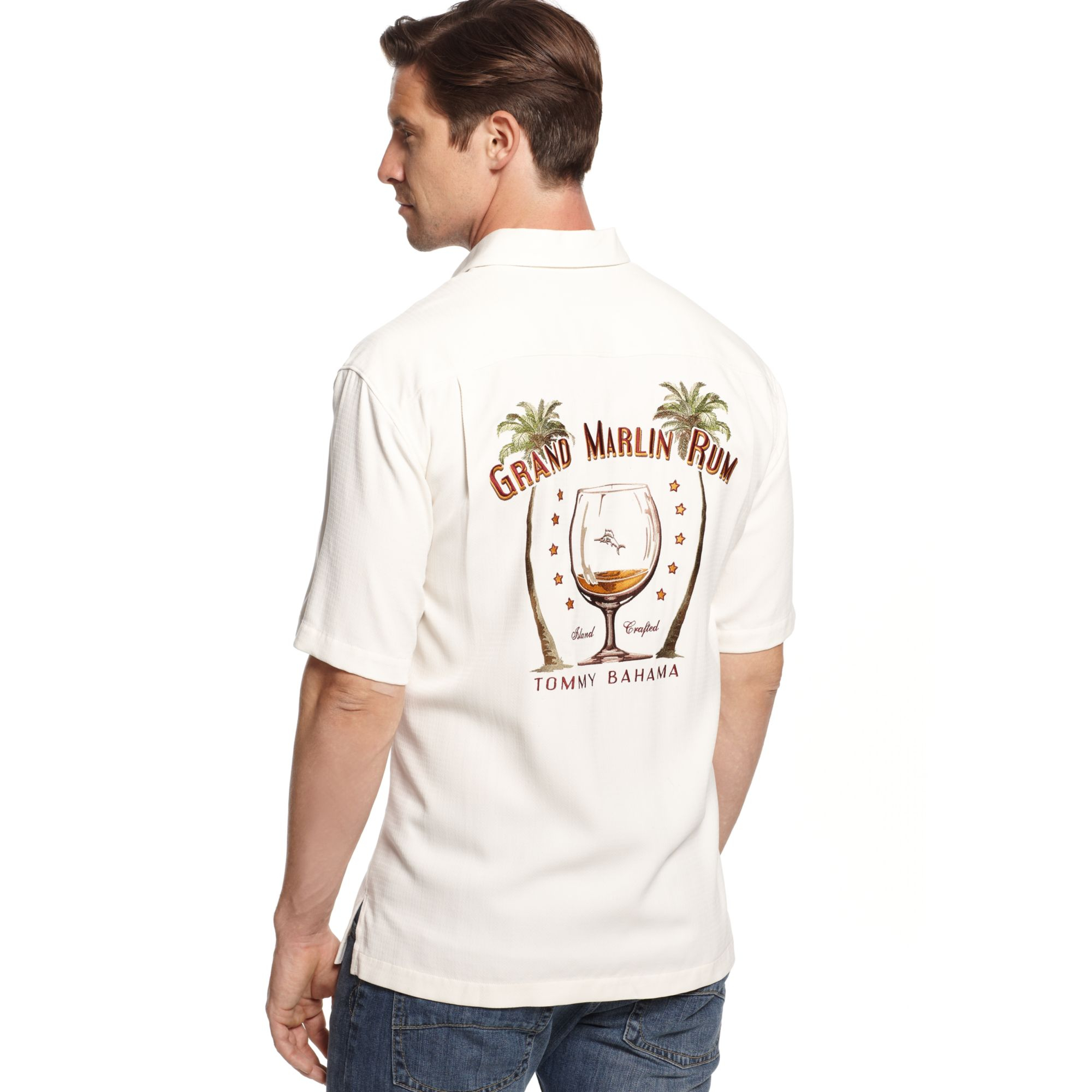 Tommy Bahama Grand Marlin Rum Silk Shirt In White For Men
