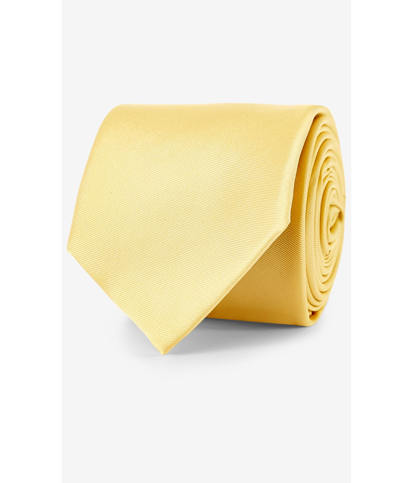 express coral narrow solid color silk tie in yellow for