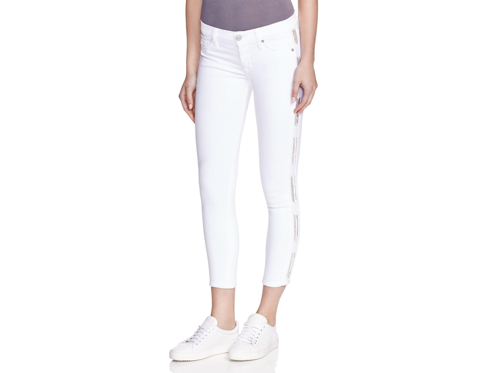 Hudson jeans Luna Super Skinny Crop Jeans In White in White | Lyst