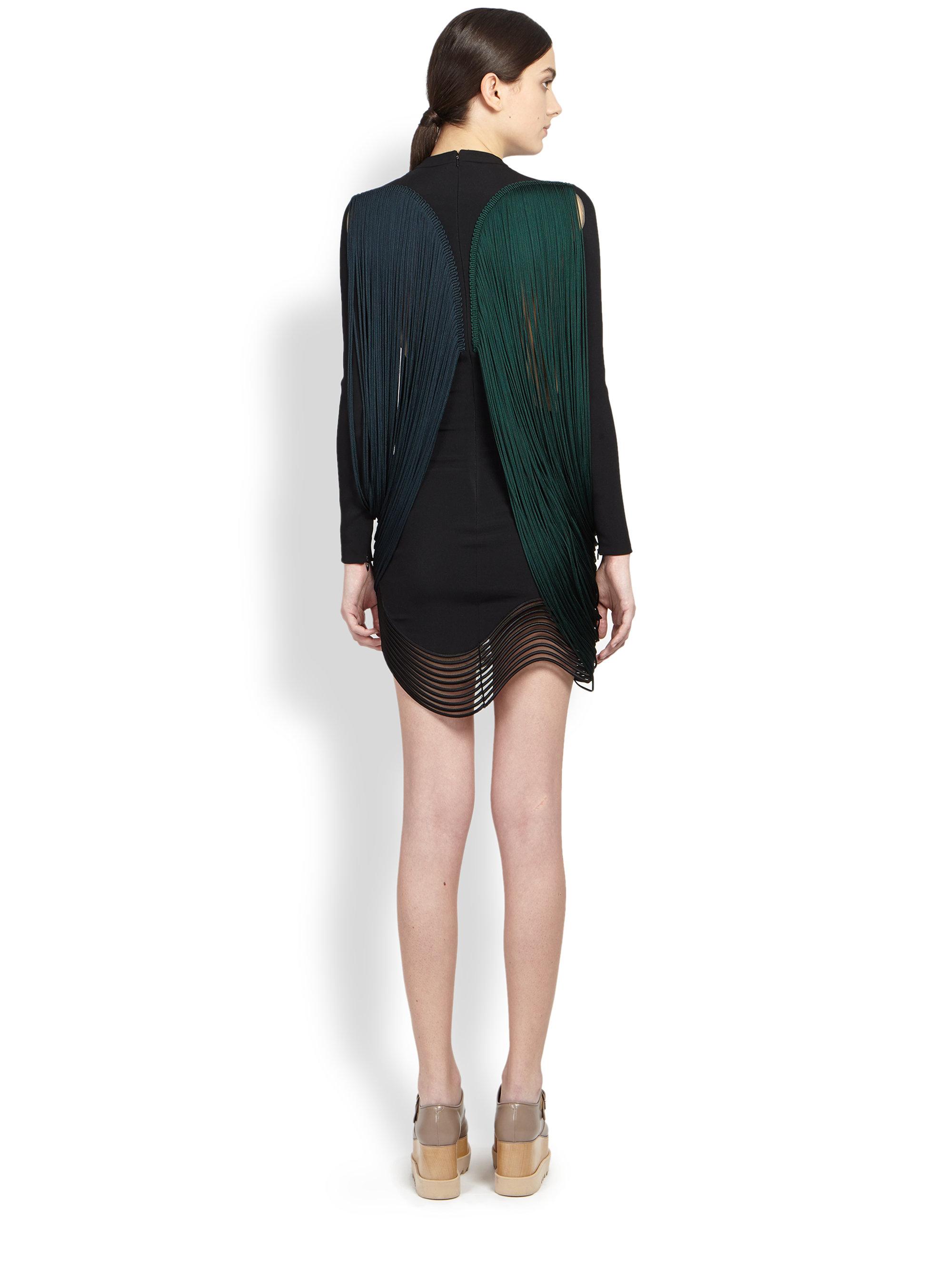 Lyst Stella Mccartney Longsleeve Wavefringe Dress In Green