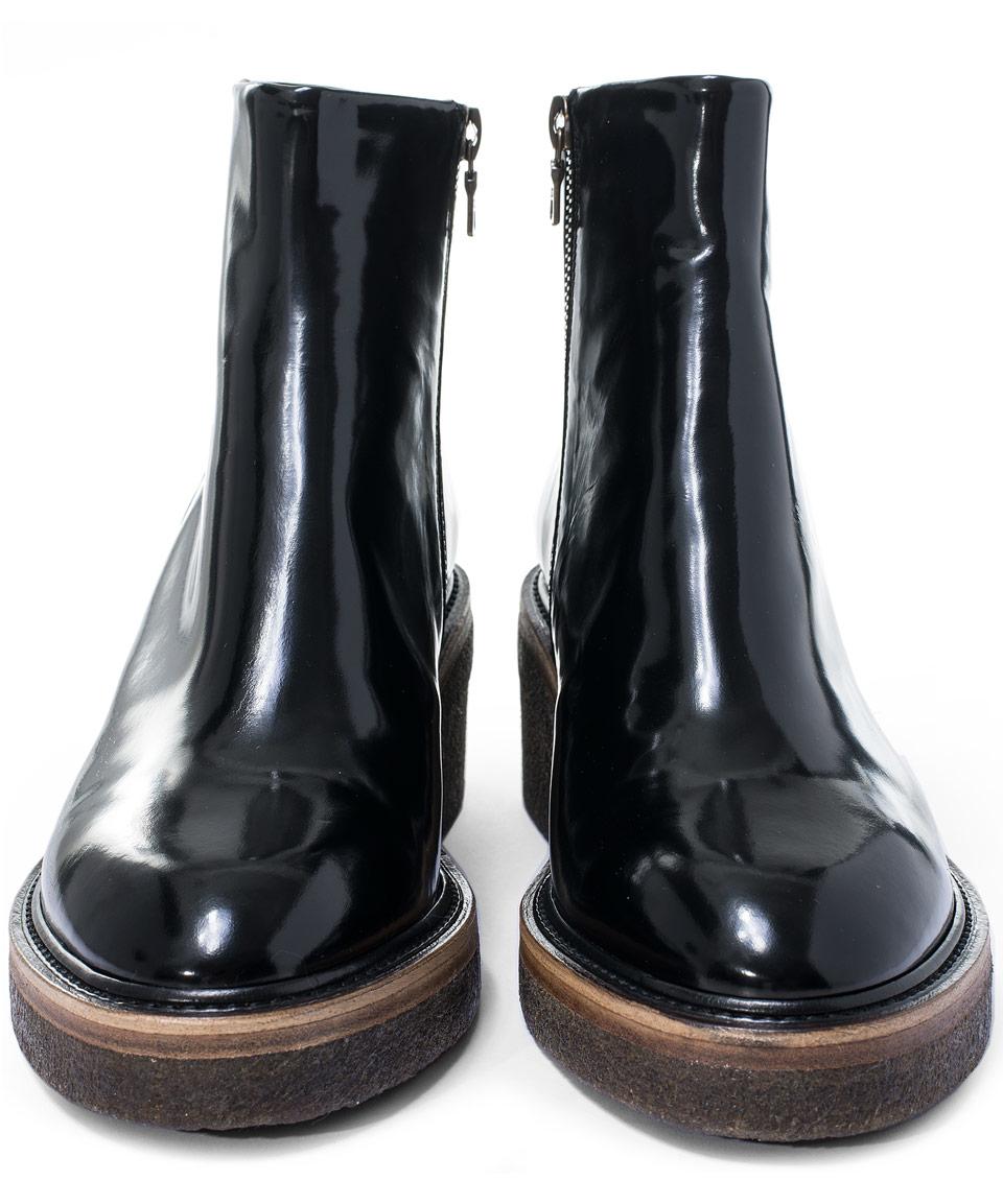 Dries Van Noten Black Crepe Sole Leather Ankle Boots