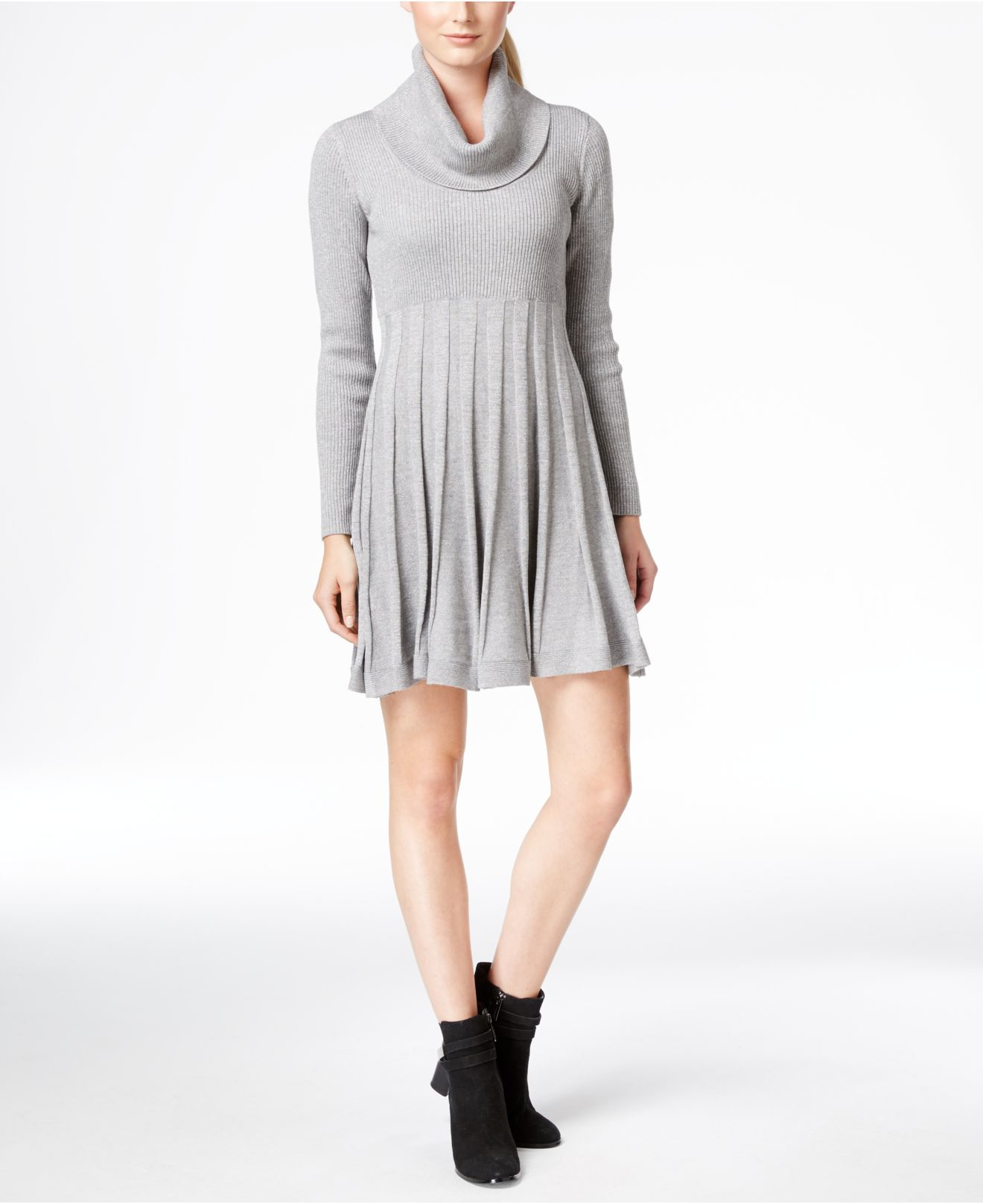 Calvin Klein Synthetic Cowl Neck Fit Amp Flare Sweater Dress