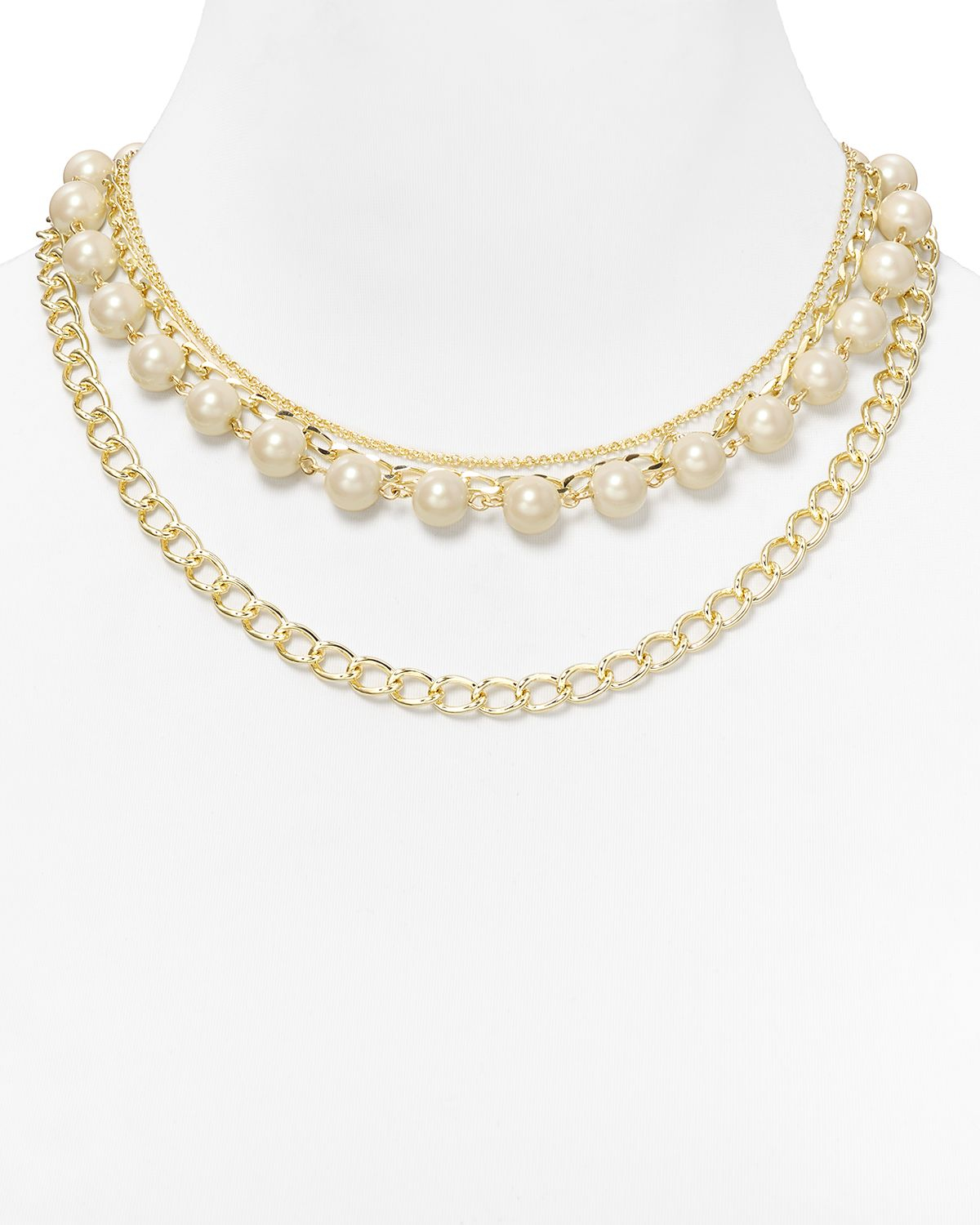 Multi Row Pearl Necklace: Carolee Picnic Pearls Multi Row Necklace 18 In White