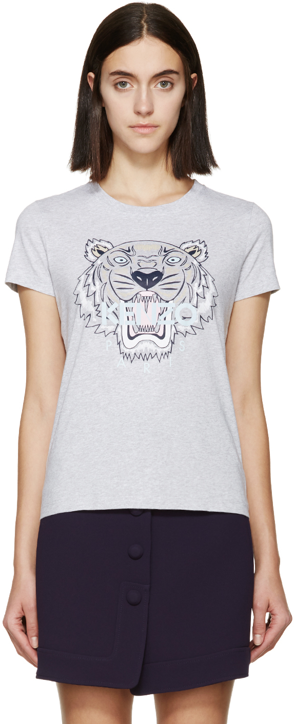 Lyst KENZO Ssense Exclusive Grey Tiger Logo T shirt in Gray