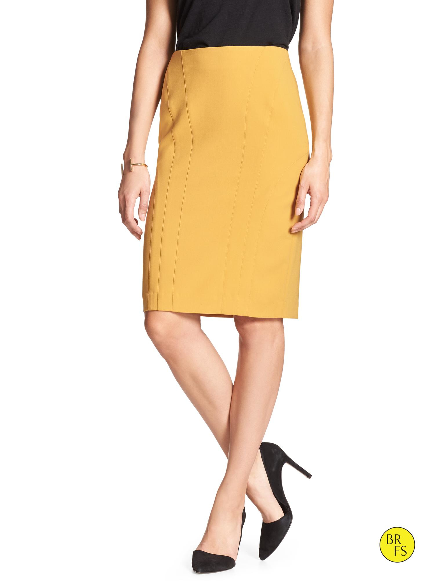 bc01210f13 Banana Republic Factory Seamed Pencil Skirt in Yellow - Lyst