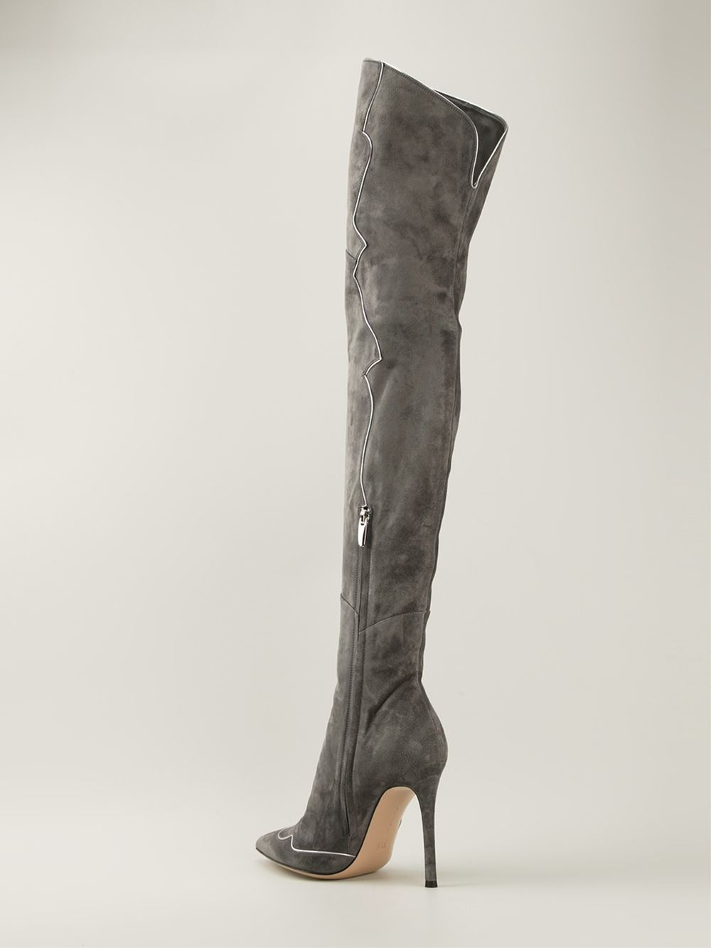 lyst gianvito rossi 39 stilo 39 knee high boots in gray. Black Bedroom Furniture Sets. Home Design Ideas