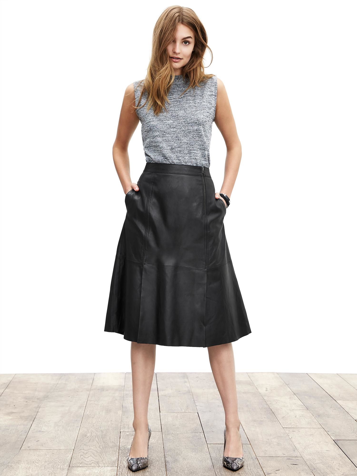 banana republic leather midi skirt in black lyst
