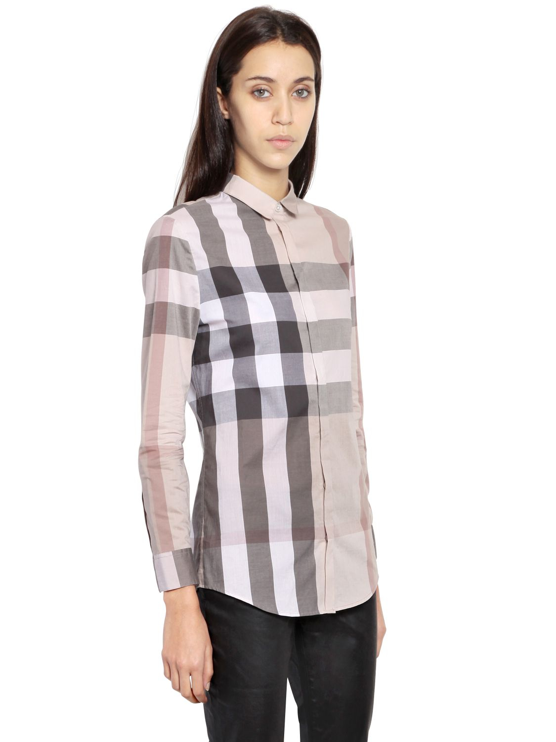 Burberry brit macro checked cotton shirt in gray lyst for Burberry brit checked shirt