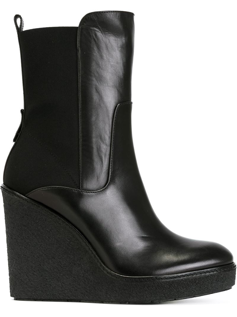Moncler Wedge Heel Ankle Boots in Black | Lyst