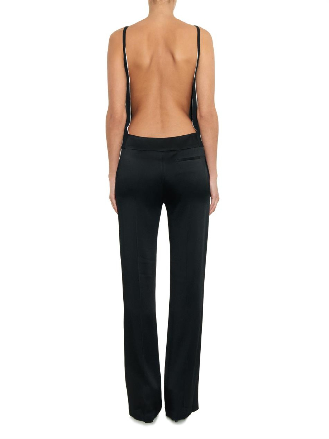 Haider Ackermann Open Back Satin And Crepe Jumpsuit In