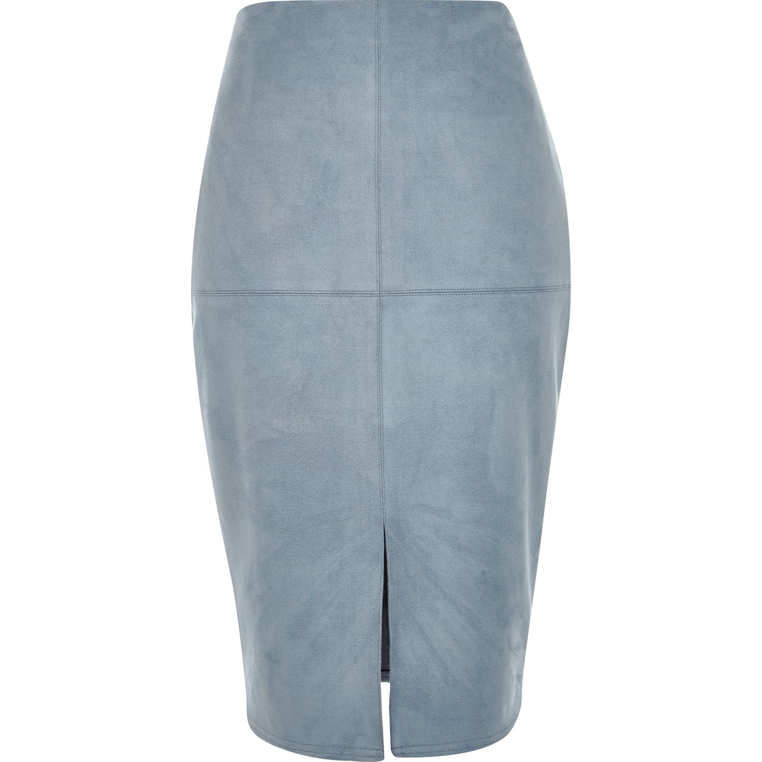 River island Blue Faux-suede Split Front Pencil Skirt in Blue | Lyst