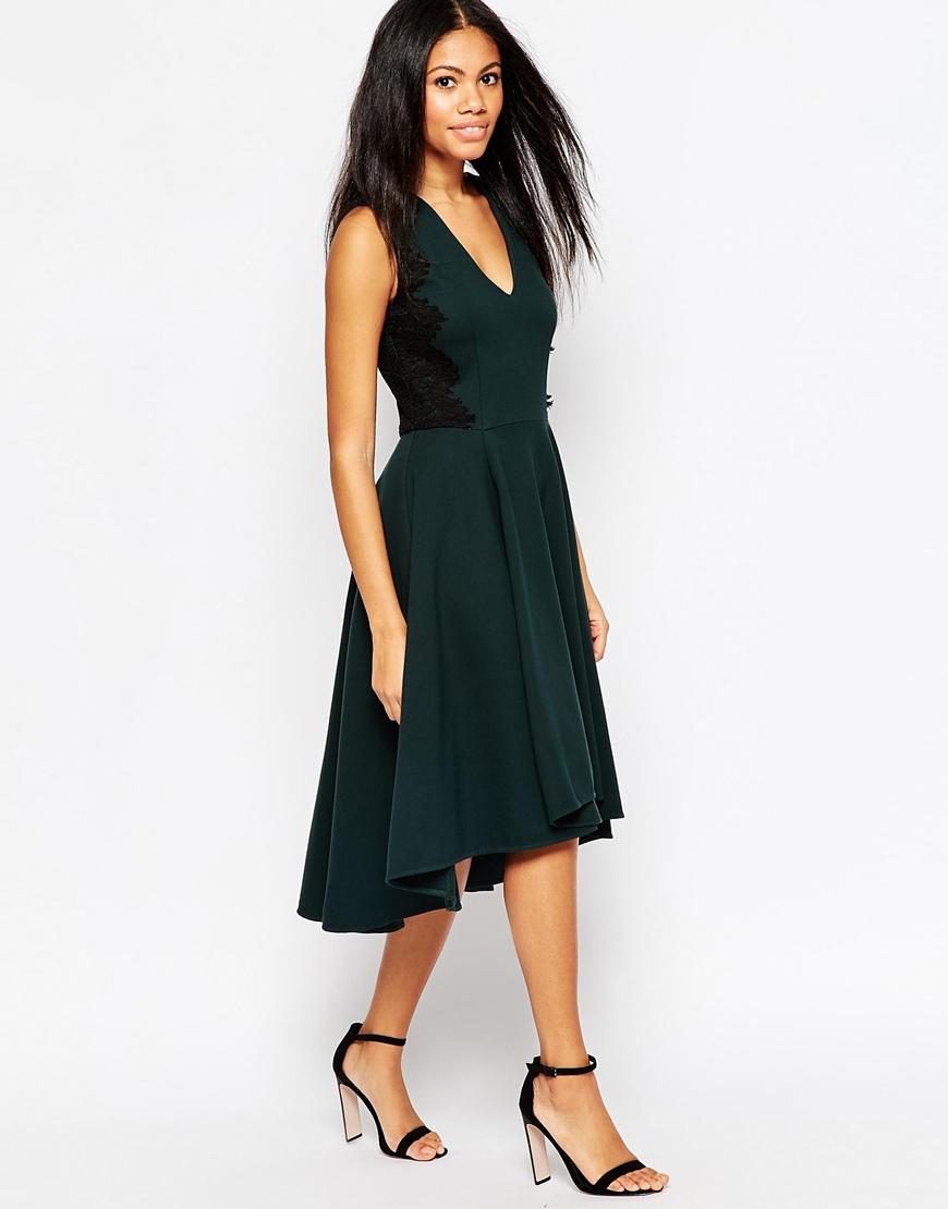 9a2796f6d051 Lyst - Hazel V Neck Midi Skater Dress in Green