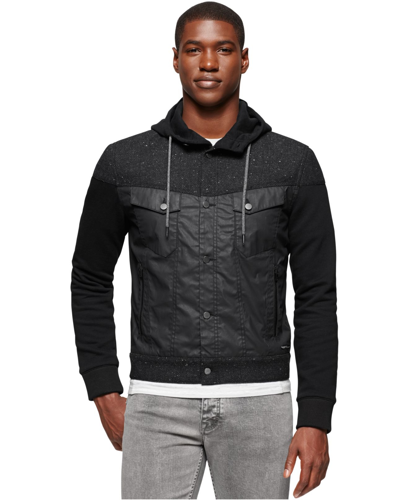 lyst calvin klein jeans mixed media hoodie in black for men. Black Bedroom Furniture Sets. Home Design Ideas