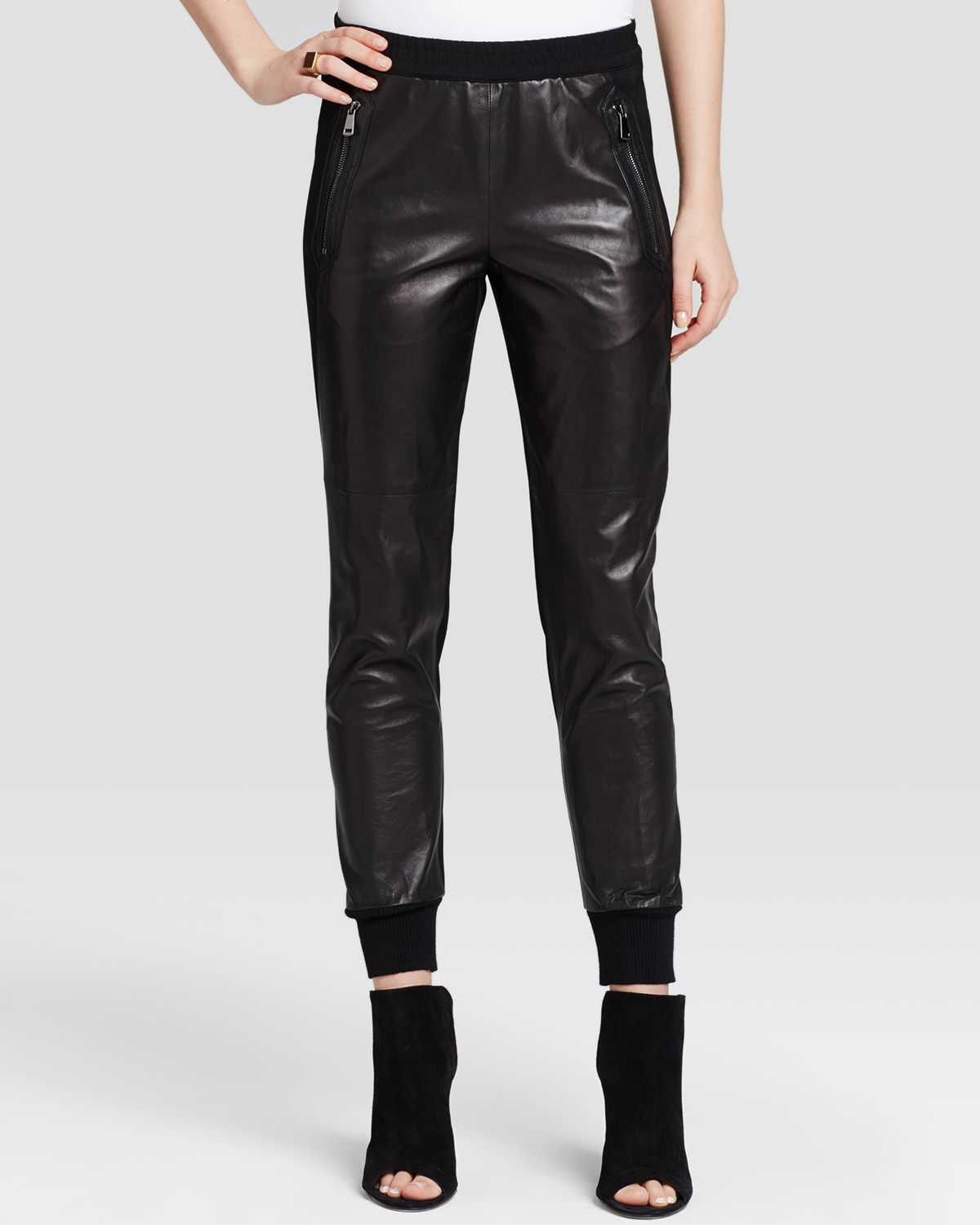 Elegant Leather Joggers On
