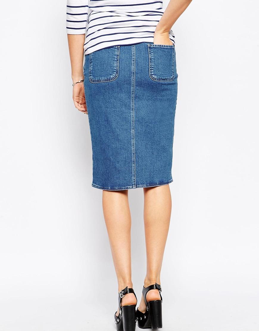 Asos Denim Pencil Skirt With Front Split in Blue | Lyst