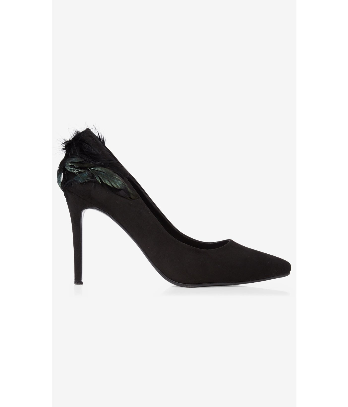 a12236eea76 Express Feather Embellished Faux Suede Pump in Black - Lyst
