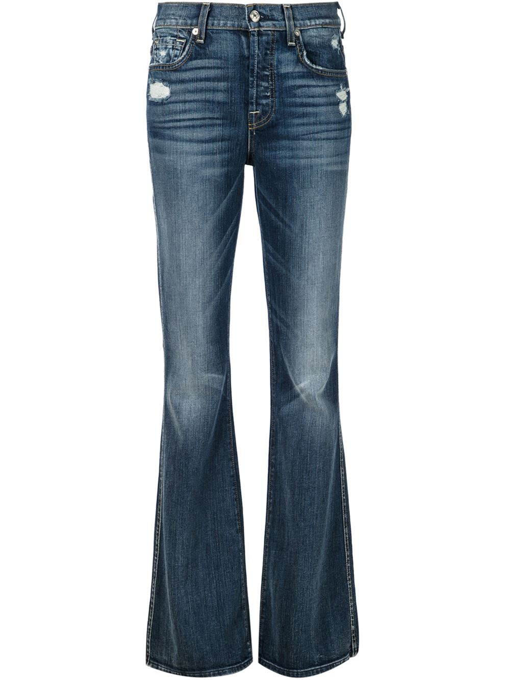 7 for all mankind distressed bootcut jeans in blue lyst. Black Bedroom Furniture Sets. Home Design Ideas