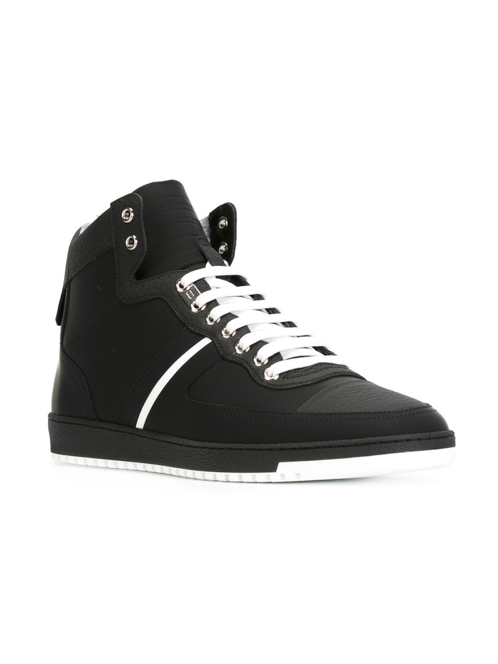 Lyst - Dior Homme Contrasting-Stripe High-Top Sneakers in Black for Men a21a5144b64