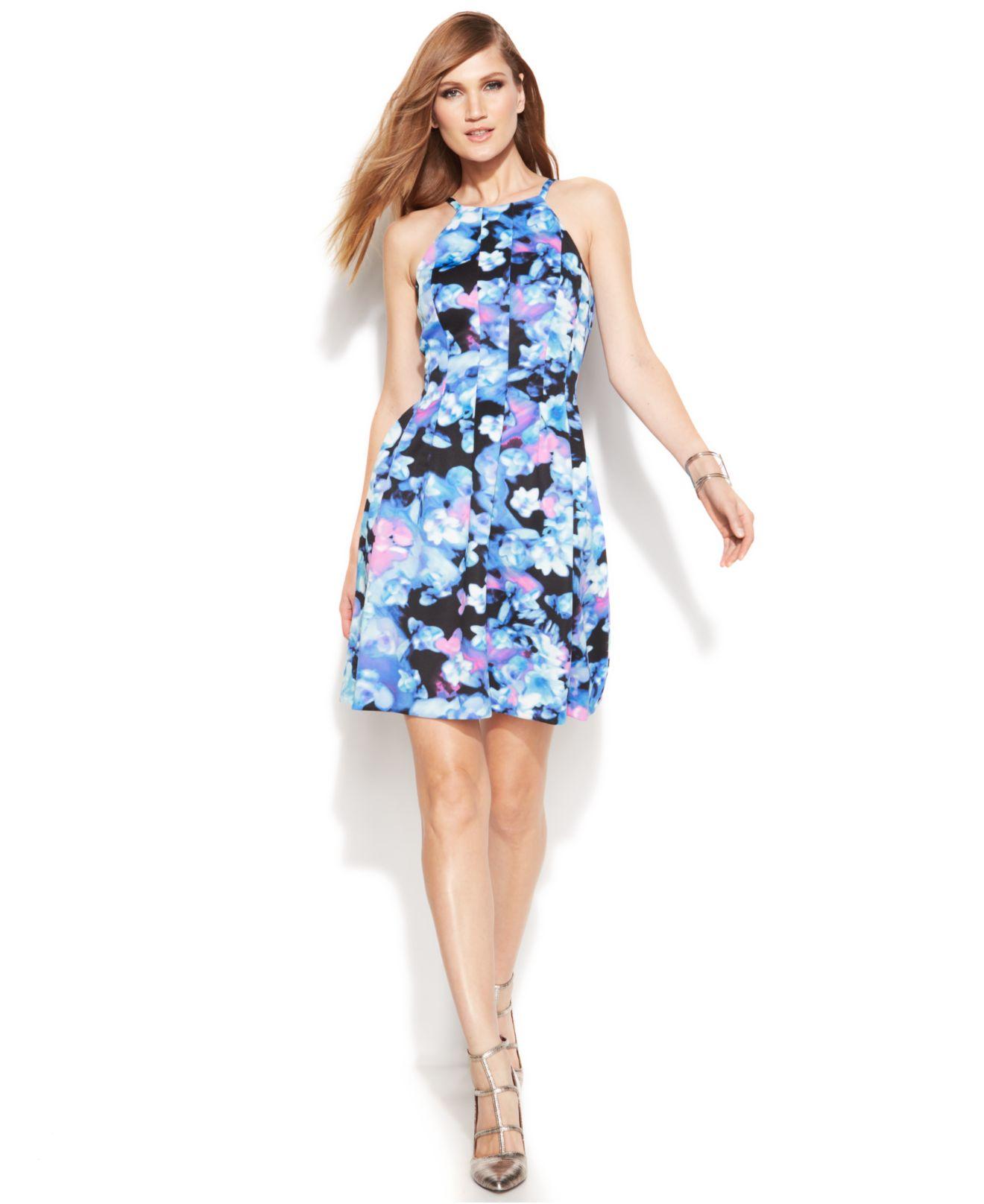 Lyst Vince Camuto Floral Print Halter Scuba Dress