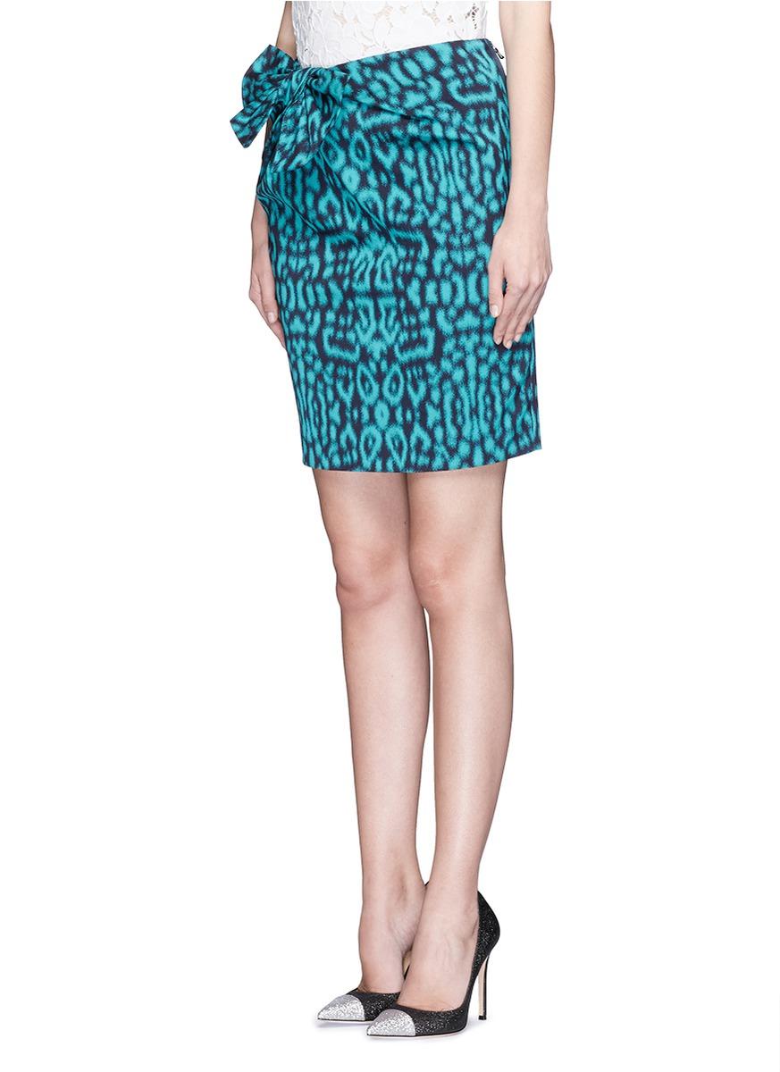 lanvin draped bow leopard print skirt in blue lyst