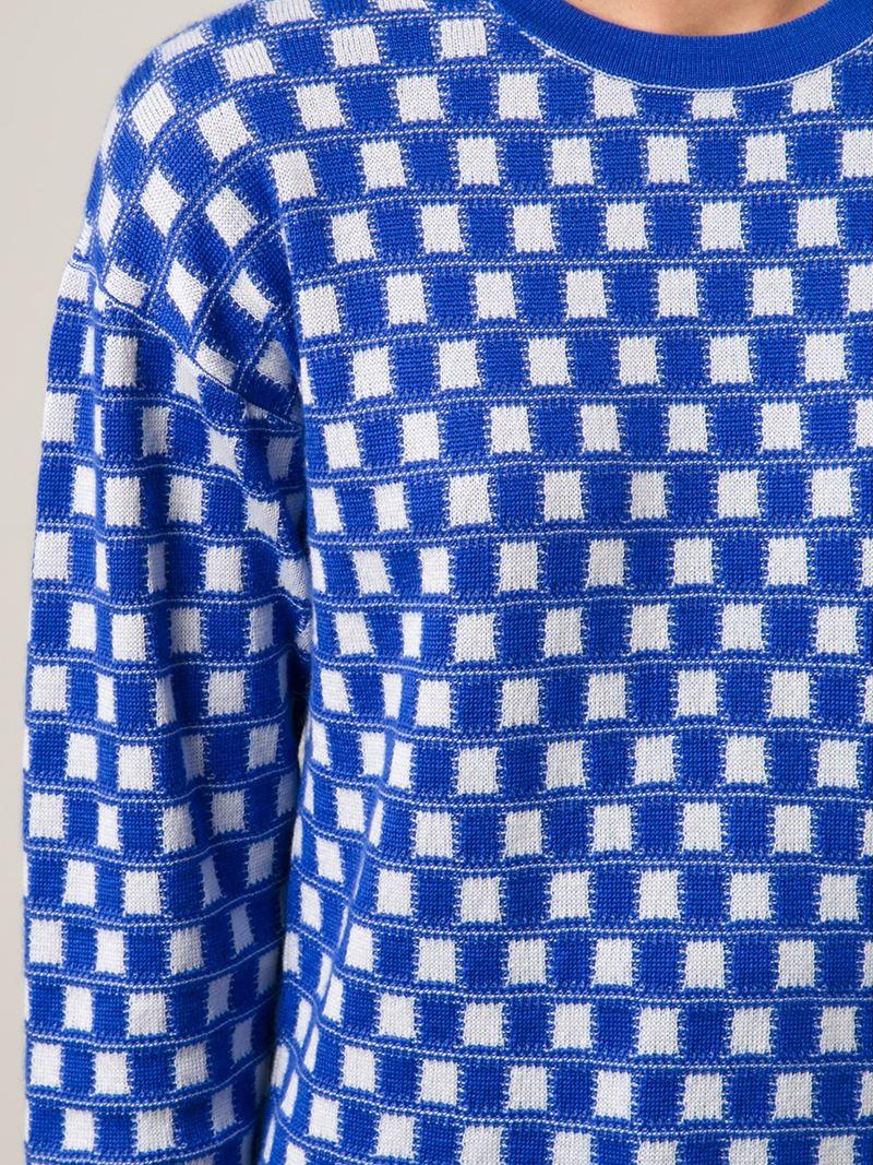 Kilt Hose Knitting Pattern : Novis Square Pattern Intarsia Knit Sweater in Blue Lyst